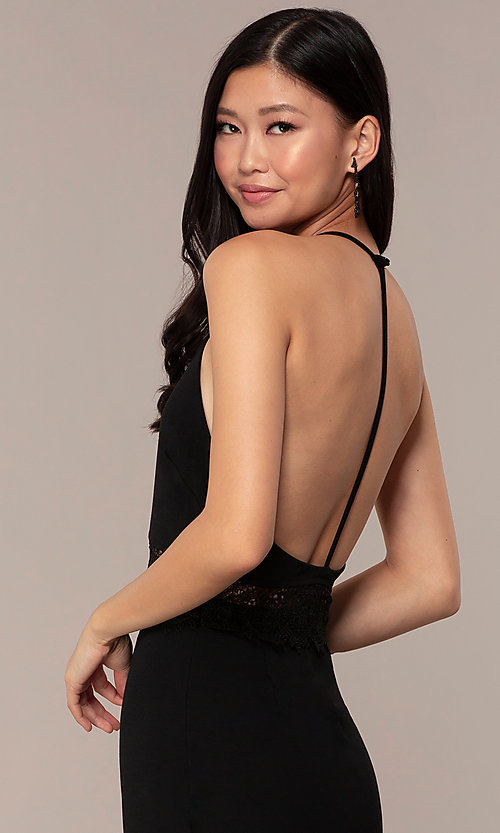 Image of short open-t-back lace-trimmed black party dress. Style: AC-ED15957EH Detail Image 2