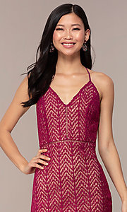 Image of short chevron lace v-neck wedding-guest dress. Style: AC-ED15960EH Detail Image 1