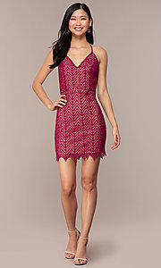 Image of short chevron lace v-neck wedding-guest dress. Style: AC-ED15960EH Detail Image 3