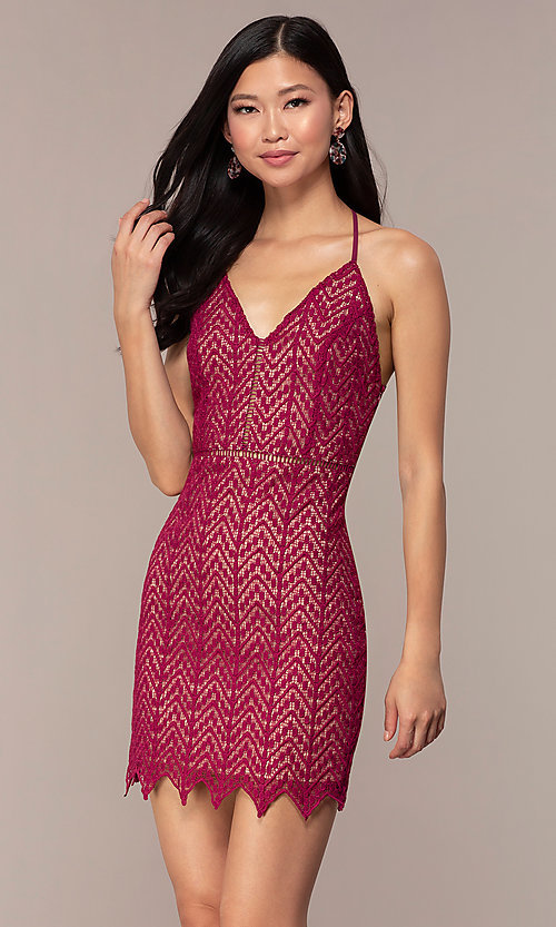 Image of short chevron lace v-neck wedding-guest dress. Style: AC-ED15960EH Front Image
