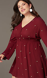 Image of long-sleeve short plus-size party dress. Style: AC-EDS15800EYP Detail Image 1