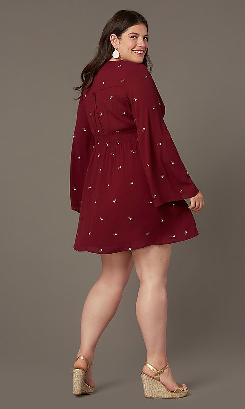 Image of long-sleeve short plus-size party dress. Style: AC-EDS15800EYP Back Image