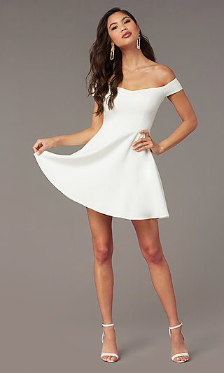 d6a77bda5c Off-the-Shoulder Short Off White Graduation Dress
