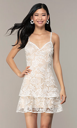 Tiered White Short Lace Graduation Party Dress