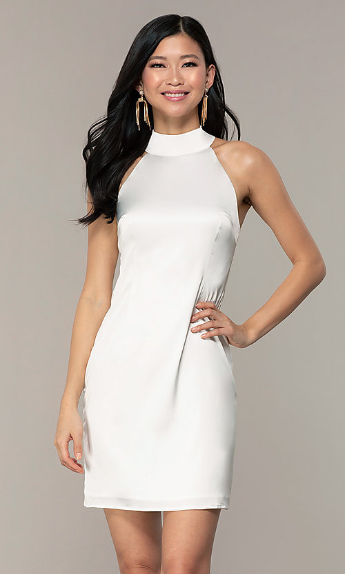 Image of White High-Neck Short Grad Dress with back tie. Style: SJP-KHG102 Front Image