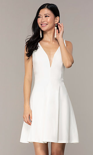 Ivory Short Graduation Dress with Double Straps