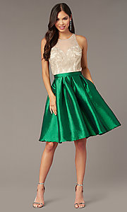 Image of embroidered-bodice short hoco dress with pockets. Style: SOI-S18409 Detail Image 4