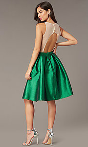 Image of embroidered-bodice short hoco dress with pockets. Style: SOI-S18409 Detail Image 3
