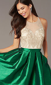 Image of embroidered-bodice short hoco dress with pockets. Style: SOI-S18409 Detail Image 5