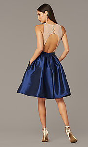 Image of embroidered-bodice short hoco dress with pockets. Style: SOI-S18409 Back Image