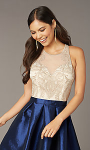 Image of embroidered-bodice short hoco dress with pockets. Style: SOI-S18409 Detail Image 1