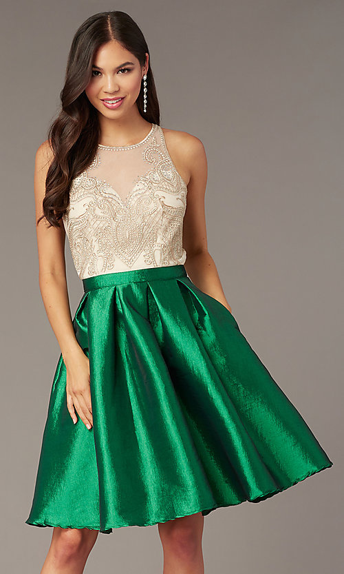 Image of embroidered-bodice short hoco dress with pockets. Style: SOI-S18409 Detail Image 2