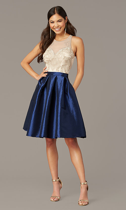 Image of embroidered-bodice short hoco dress with pockets. Style: SOI-S18409 Front Image