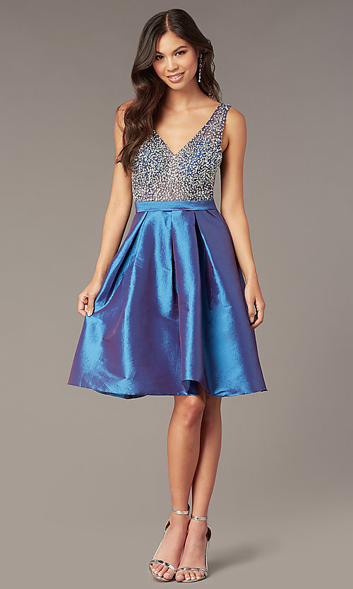 b1dbfd6166b Image of short embellished-bodice homecoming party dress. Style  SOI-W18717  Front