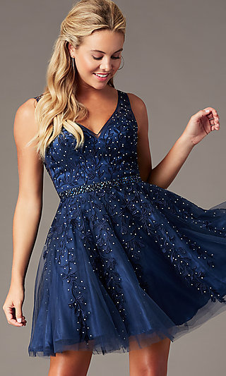 Embroidered-Tulle Short Homecoming Party Dress
