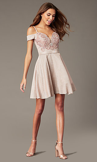 Off-the-Shoulder Sparkly Short Homecoming Dress