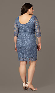 Image of short lace wedding-guest plus dress in slate blue. Style: SOI-PS40129 Back Image
