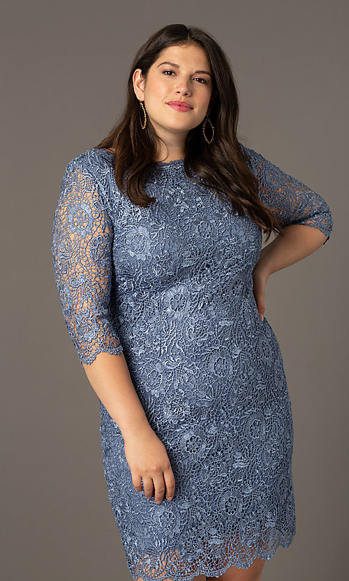 Image of short lace wedding-guest plus dress in slate blue. Style: SOI-PS40129 Detail Image 1