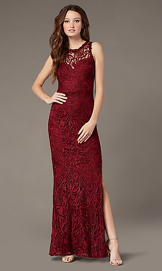 Sheer-Neck Plum Red Long Lace Formal Dress