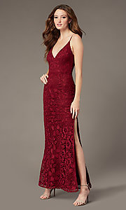 Image of plum red long lace formal dress with v-neckline. Style: SOI-M18721 Front Image