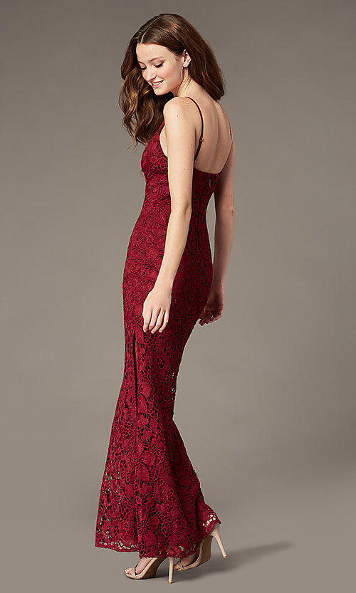 Image of plum red long lace formal dress with v-neckline. Style: SOI-M18721 Back Image