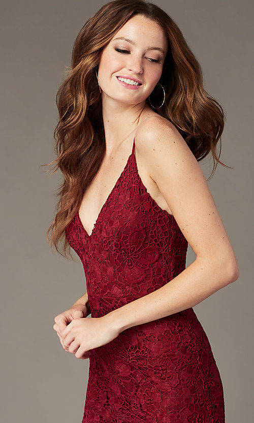 Image of plum red long lace formal dress with v-neckline. Style: SOI-M18721 Detail Image 1