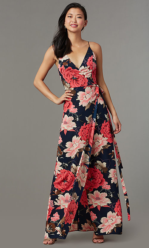aa51f3bf24d7 Image of floral-print maxi wrap wedding-guest party dress. Style: SOI