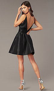 Image of short a-line deep-v-neck hoco dress with open back. Style: LUX-LD5497-B Back Image