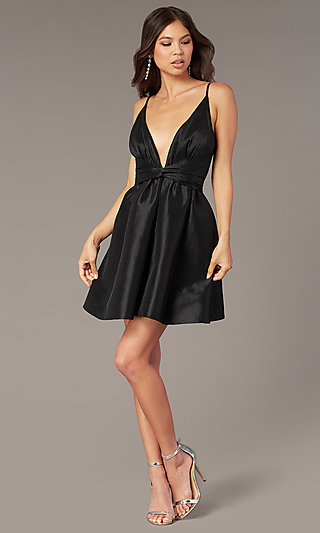 Short A-Line Deep-V-Neck Hoco Dress with Open Back