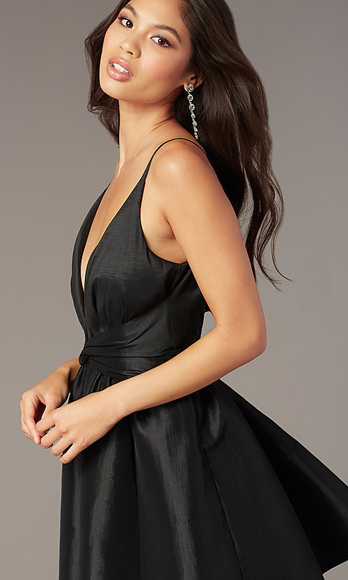 Image of short a-line deep-v-neck hoco dress with open back. Style: LUX-LD5497-B Detail Image 1