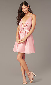 Image of sexy short pink party dress with plunging v-neckline. Style: LUX-LD5497-P Detail Image 2