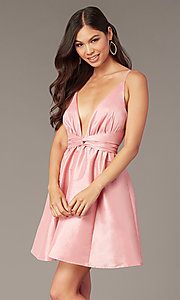 Image of sexy short pink party dress with plunging v-neckline. Style: LUX-LD5497-P Front Image