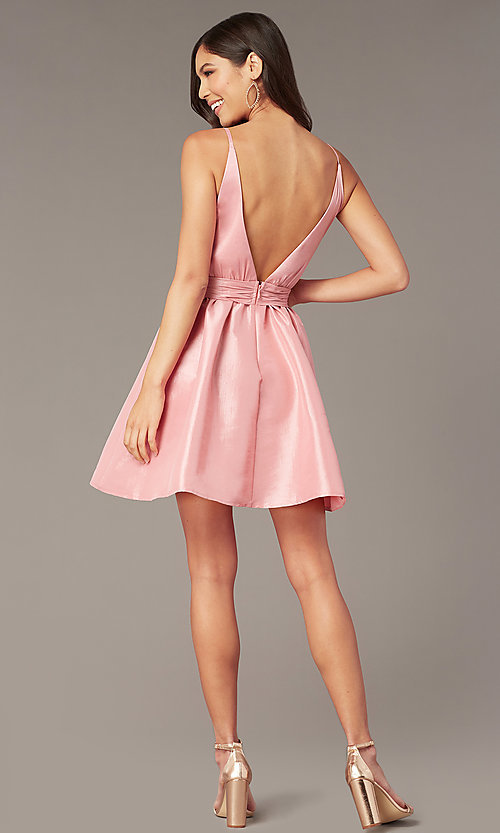 Image of sexy short pink party dress with plunging v-neckline. Style: LUX-LD5497-P Back Image