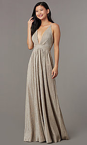 Image of long glitter-knit mauve prom dress with open back. Style: LUX-LD5310 Front Image