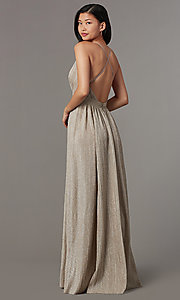 Image of long glitter-knit mauve prom dress with open back. Style: LUX-LD5310 Back Image