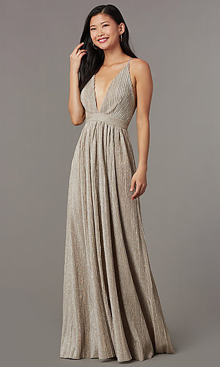 Long Glitter-Knit Mauve Prom Dress with Open Back