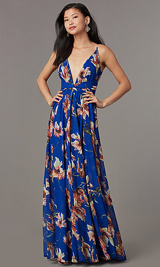 Floral-Print Deep-V-Neck V-Back Long Formal Dress