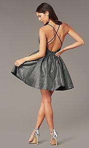 Image of metallic-knit v-neck short homecoming party dress. Style: LUX-LD5328 Back Image