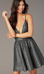 Image of metallic-knit v-neck short homecoming party dress. Style: LUX-LD5328 Front Image