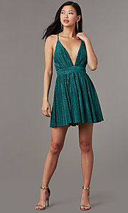 Image of v-neck short glitter-knit homecoming party dress. Style: LUX-LD5427 Detail Image 4