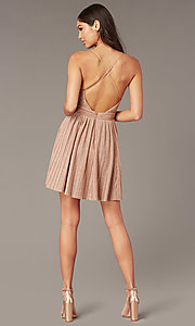 Image of v-neck short glitter-knit homecoming party dress. Style: LUX-LD5427 Back Image