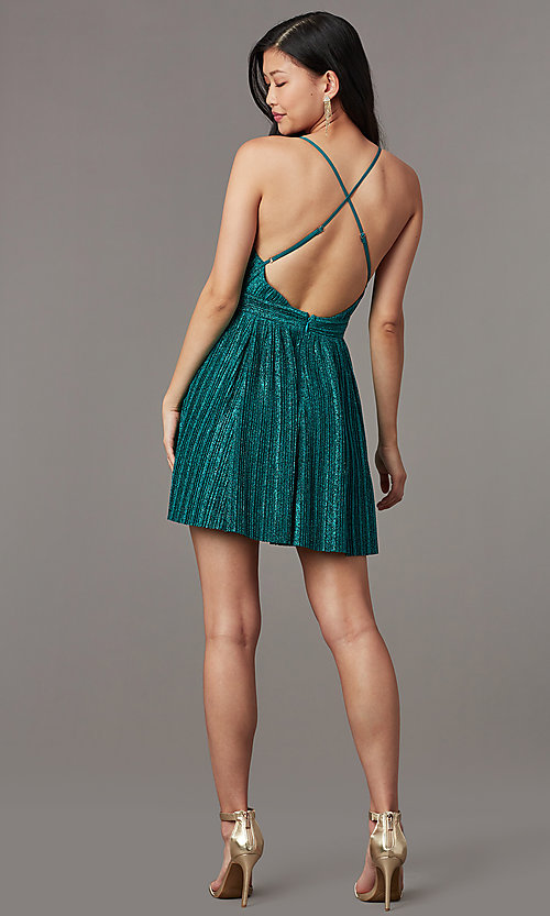 Image of v-neck short glitter-knit homecoming party dress. Style: LUX-LD5427 Detail Image 3
