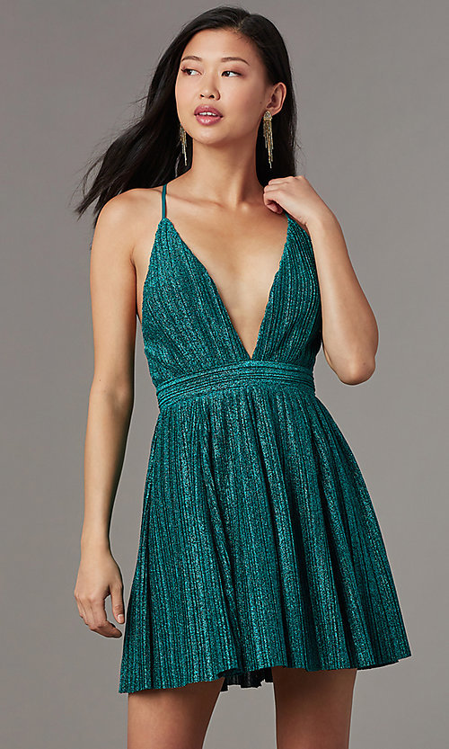 Image of v-neck short glitter-knit homecoming party dress. Style: LUX-LD5427 Detail Image 2