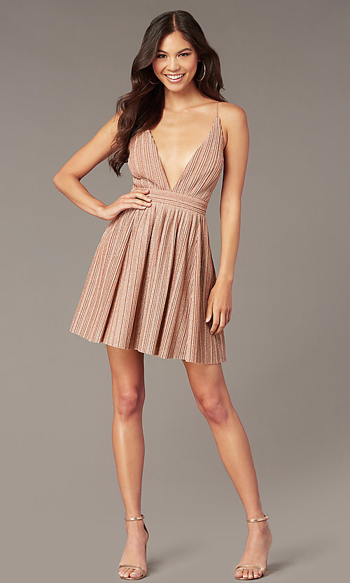 Image of v-neck short glitter-knit homecoming party dress. Style: LUX-LD5427 Detail Image 1