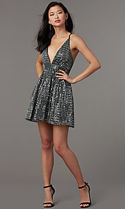 Image of sequin v-neck short homecoming party dress. Style: LUX-LD5312 Detail Image 1
