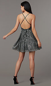 Image of sequin v-neck short homecoming party dress. Style: LUX-LD5312 Back Image