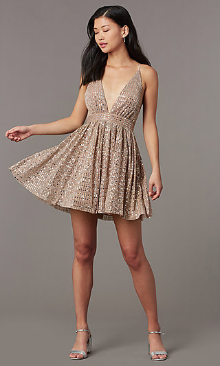 Sequin V-Neck Short Homecoming Party Dress