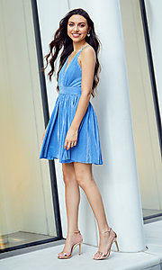 Image of short homecoming party dress with plunging v-neck. Style: LUX-LD5575 Detail Image 2