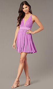 Image of short homecoming party dress with plunging v-neck. Style: LUX-LD5575 Front Image