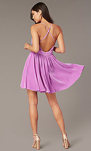Image of short homecoming party dress with plunging v-neck. Style: LUX-LD5575 Back Image